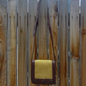 Vintage Straw and Leather Crossbody Bag